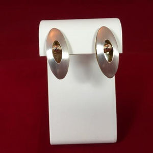 Ed Levin VINTAGE Brushed 925 and 14K Gold Earrings